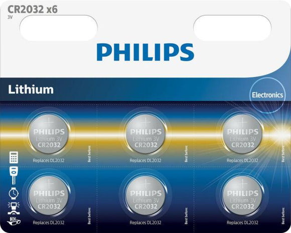 Philips Lithium 3V Button Cell Battery CR2032 - 6 Pack - TOYBOX Cyprus