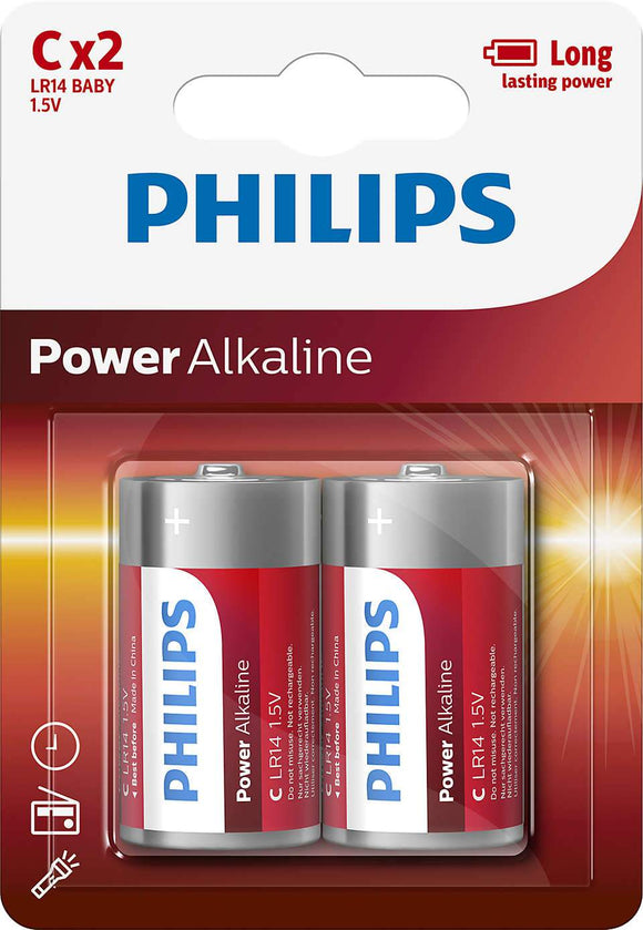 Philips Power Alkaline C Type Batteries Pack of 2 - TOYBOX Cyprus