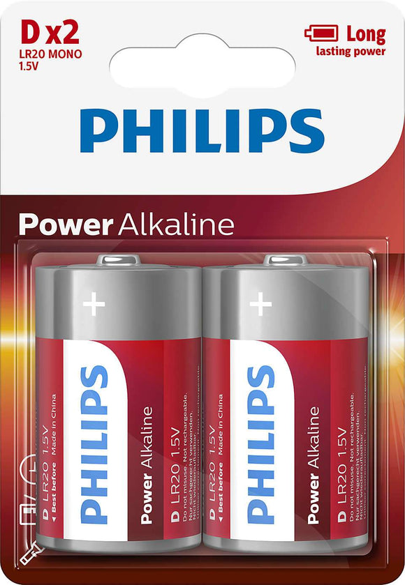 Philips Power Alkaline D Type Batteries Pack of 2 - TOYBOX Cyprus