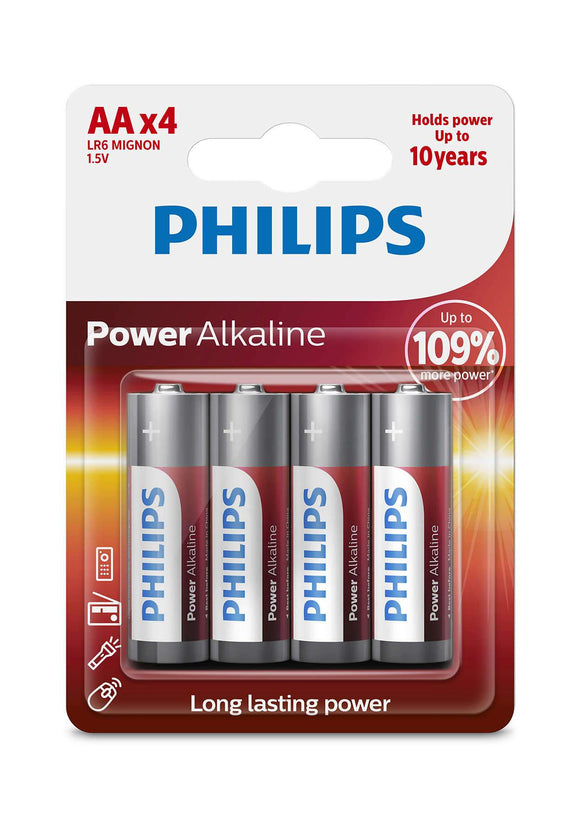 Philips Power Alkaline Type AA Batteries Pack of 4 - TOYBOX Cyprus