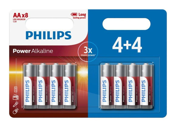 Philips Power Alkaline Type AA Batteries Pack of 8 - TOYBOX Cyprus