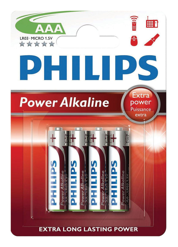 Philips Power Alkaline Type AAA Batteries Pack of 4 - TOYBOX Cyprus