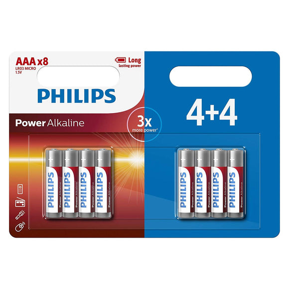 Philips Power Alkaline Type AAA Batteries Pack of 8 - TOYBOX Cyprus