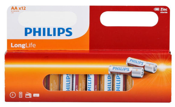 Philips Zinc Long Life AA 1.5V Batteries – 12 Pack - TOYBOX Cyprus