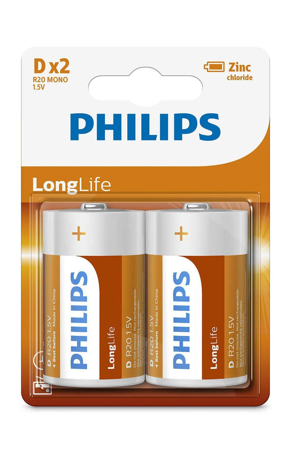 Philips Zinc Long Life D Type Batteries – 2 Pack - TOYBOX Cyprus