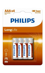 Philips Zinc Long Life Type AAA Batteries Pack of 4 Batteries Philips