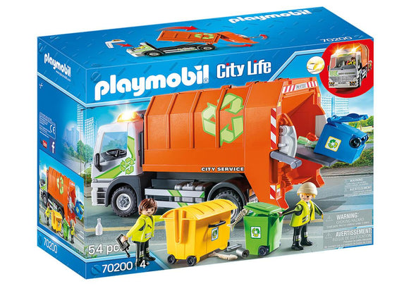 Playmobil 70200 City Life Vehicle World Recycling Truck with Flashing Lights - TOYBOX Toy Shop
