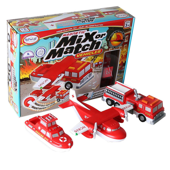 Popular Playthings Magnetic Mix or Match Vehicles, Fire & Rescue Playset Popular Playthings