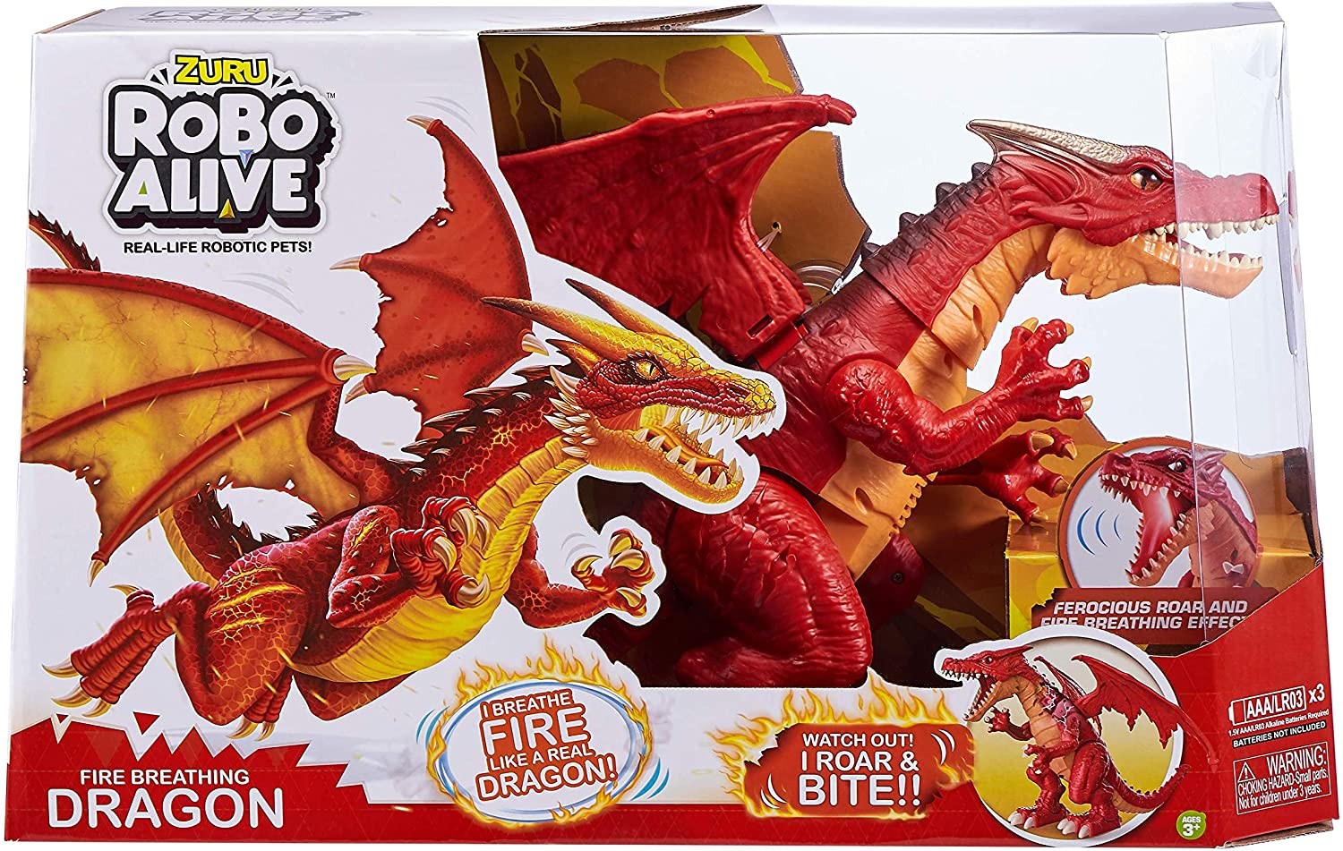 ZURU Robo Alive Fire Breathing Roaring Dragon Red, Ice Blasting Blue Dragon - TOYBOX Toy Shop