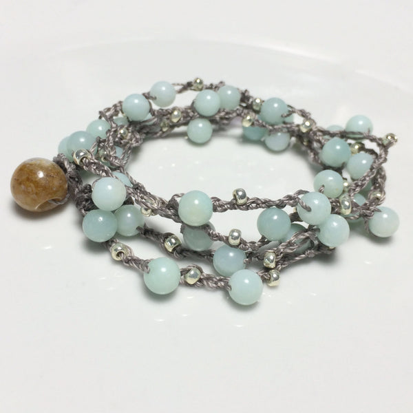 Crochet Amazonite Bracelet Bohemian Beach Chic