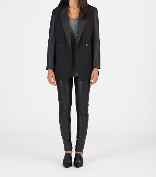 Leather sleeve blazer with cashmere blend fabric available in black