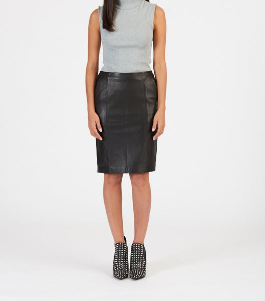 structured soft leather pencil skirt available in black, cobalt, orange and yellow. Made from 100% authentic leather