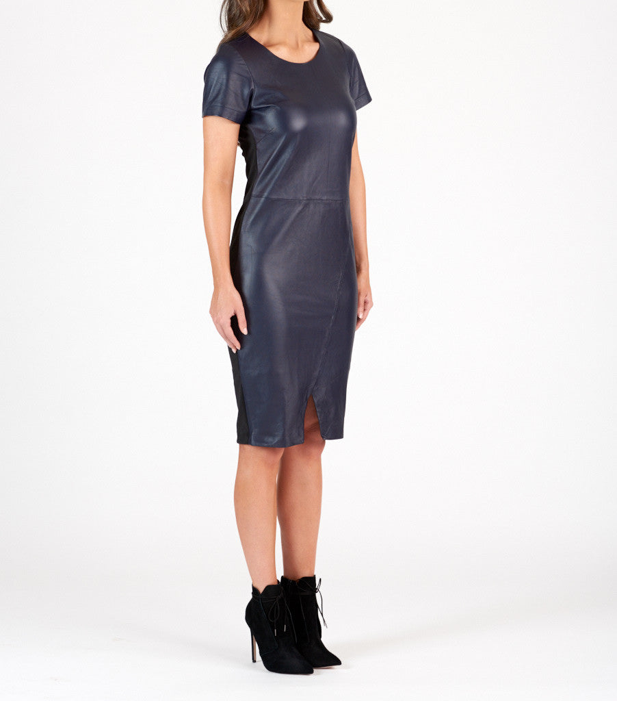 Travis + Joy Navy leather Dress