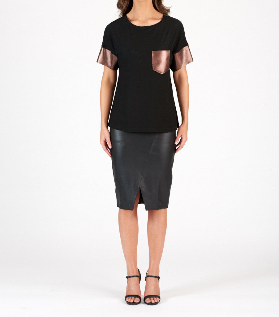 Leather Spliced T Shirt