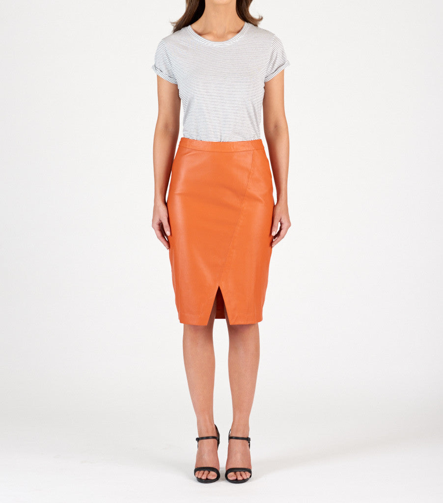 Leather Pencil Skirt - Burnt Orange