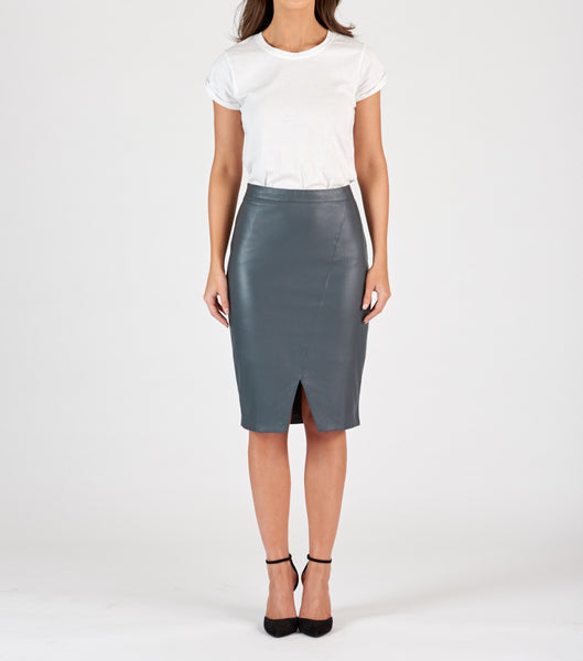 Leather Pencil Skirt - Charcoal