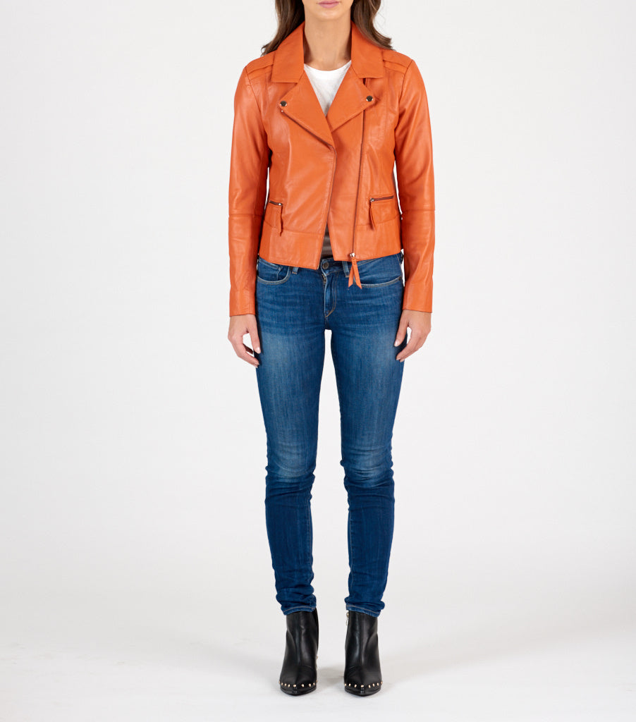 Biker Leather Jacket - Burnt Orange