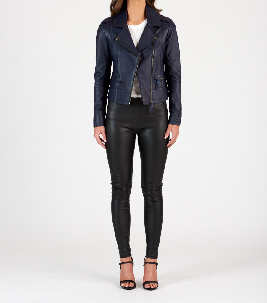 Biker Leather Jacket - Navy