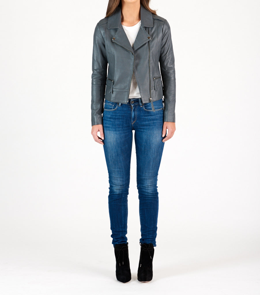 Biker Leather Jacket - Charcoal