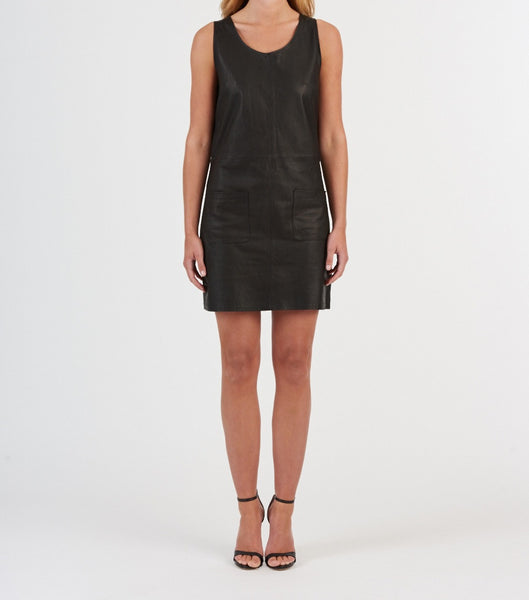 soft leather sleeveless shift dress available in black. 100% authentic leather