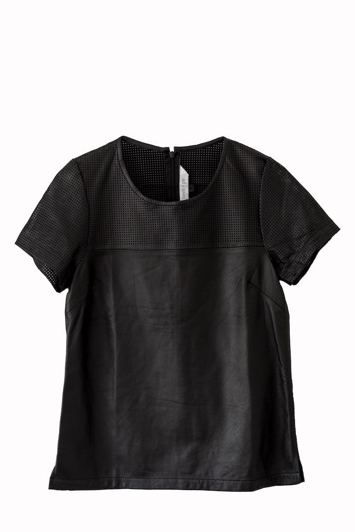 Perforated leather tshirt. Structured and soft. 100% authentic leather and lasercut