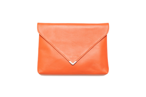 Orange Leather Clutch Bag