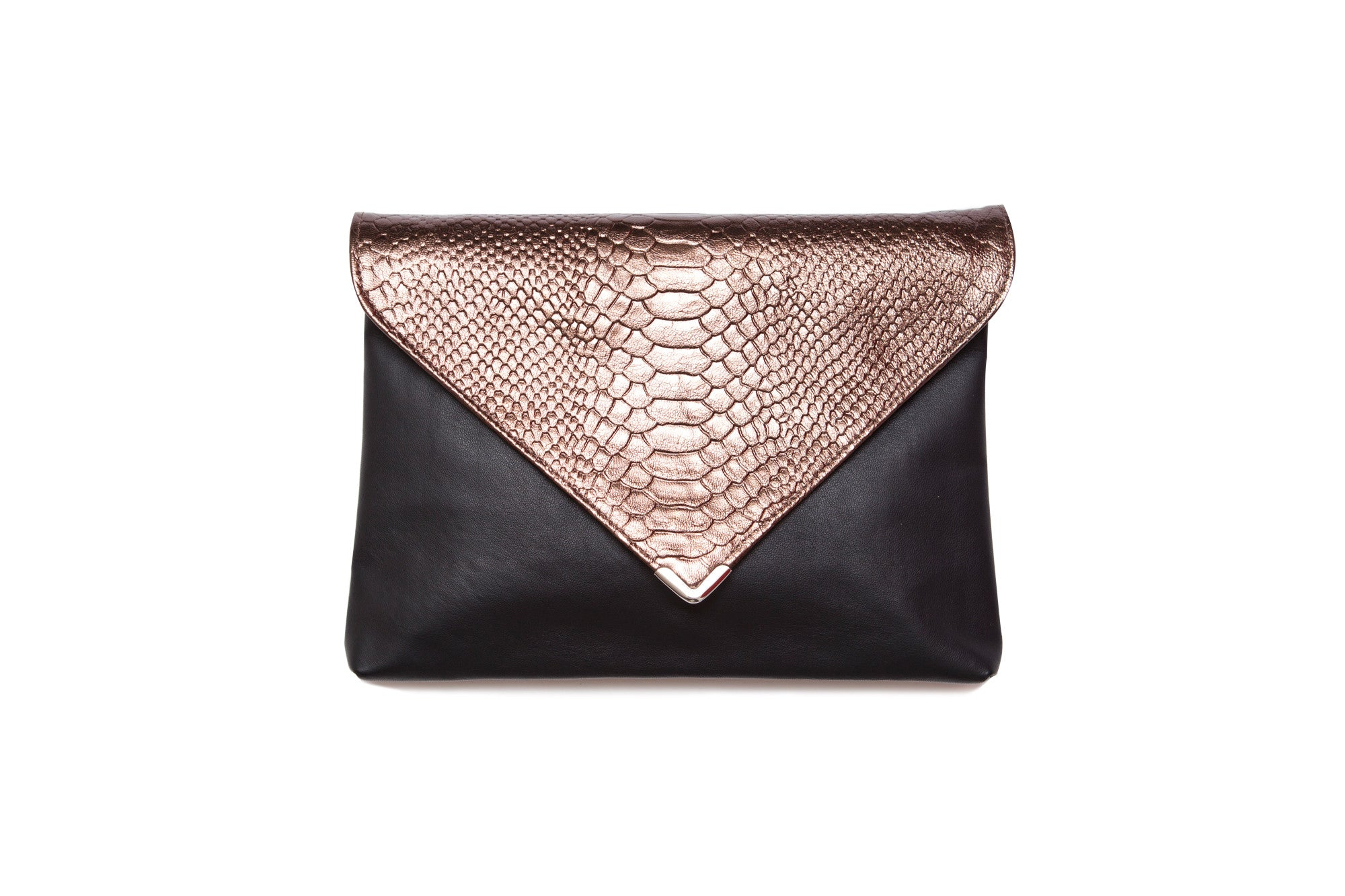 Metallic Bronze Leather Clutch