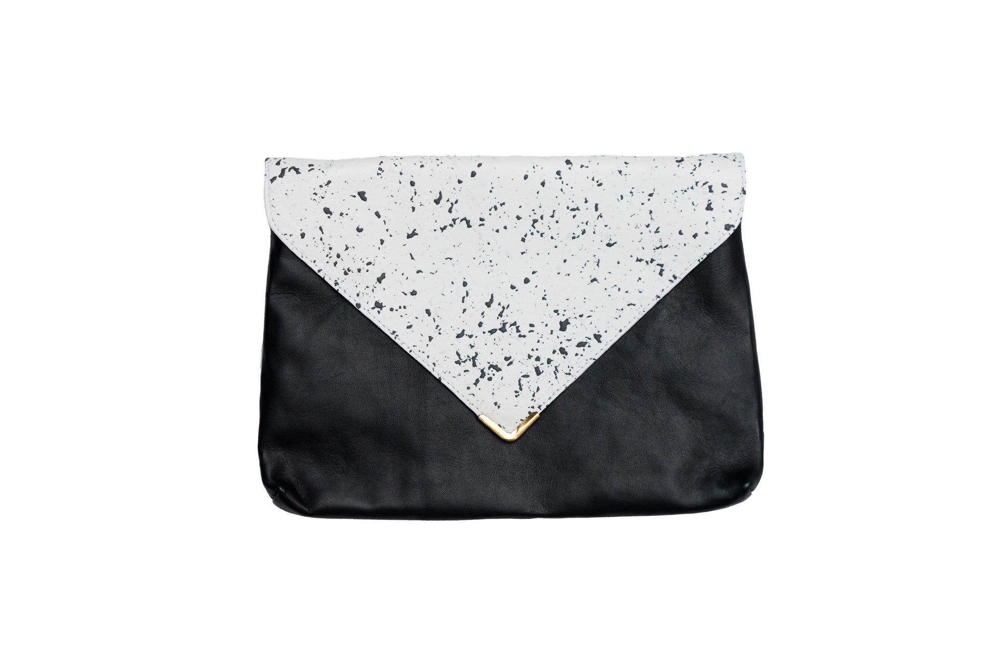 Black + White Speckled Leather Clutch