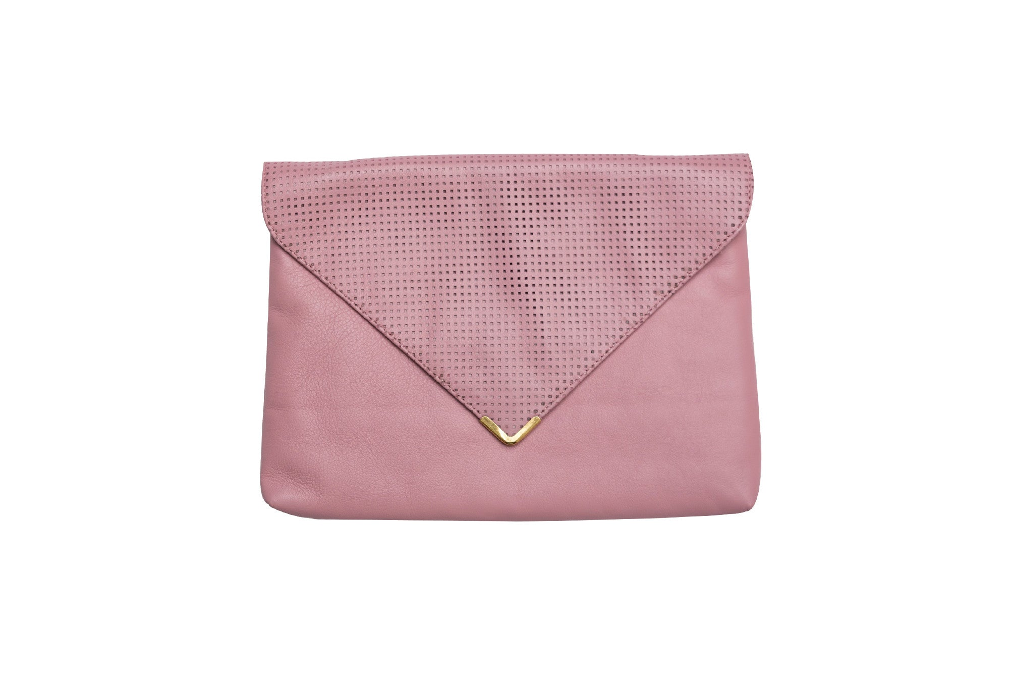 Pink Perforated Leather Clutch
