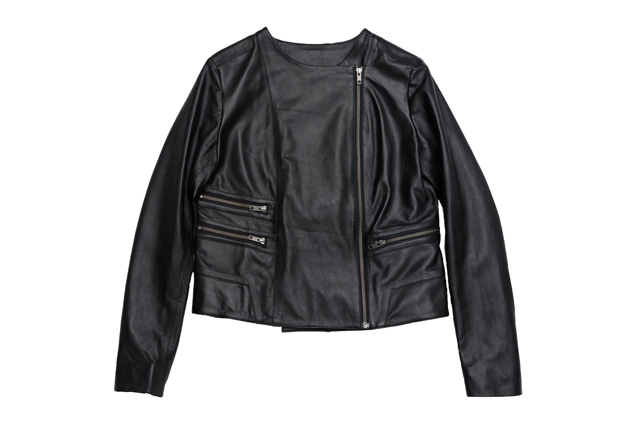 Leather biker jacket available in black or navy. Zip details. Made from 100% authentic leather