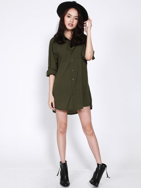 ERIN Loose Fit Shirt Dress (Olive Green)