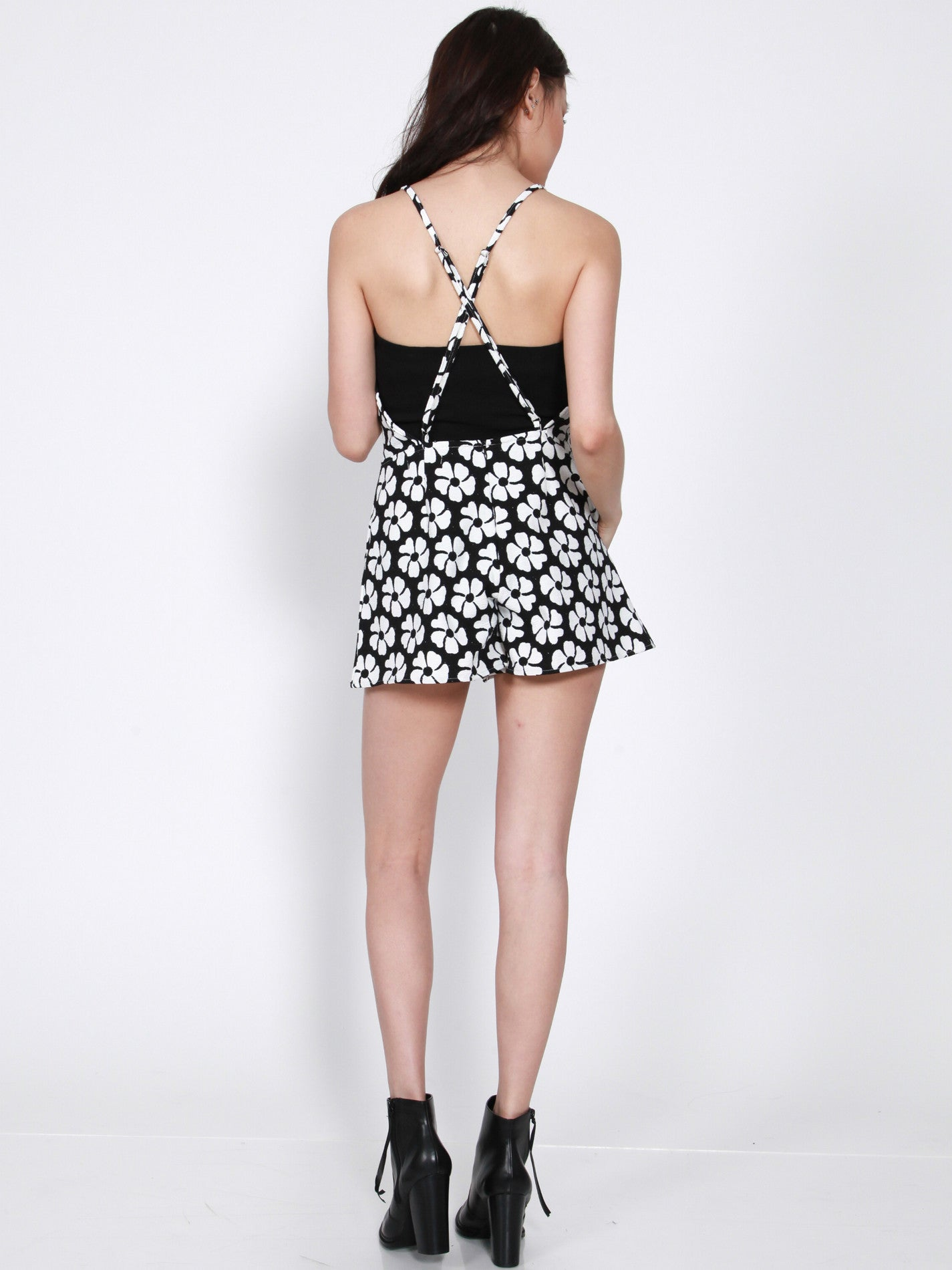 JOIE Cross Back Romper (Mono Floral)
