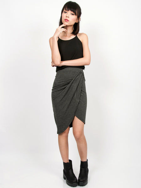 NELLIE Asymmetric Drape Skirt (Dark Grey)