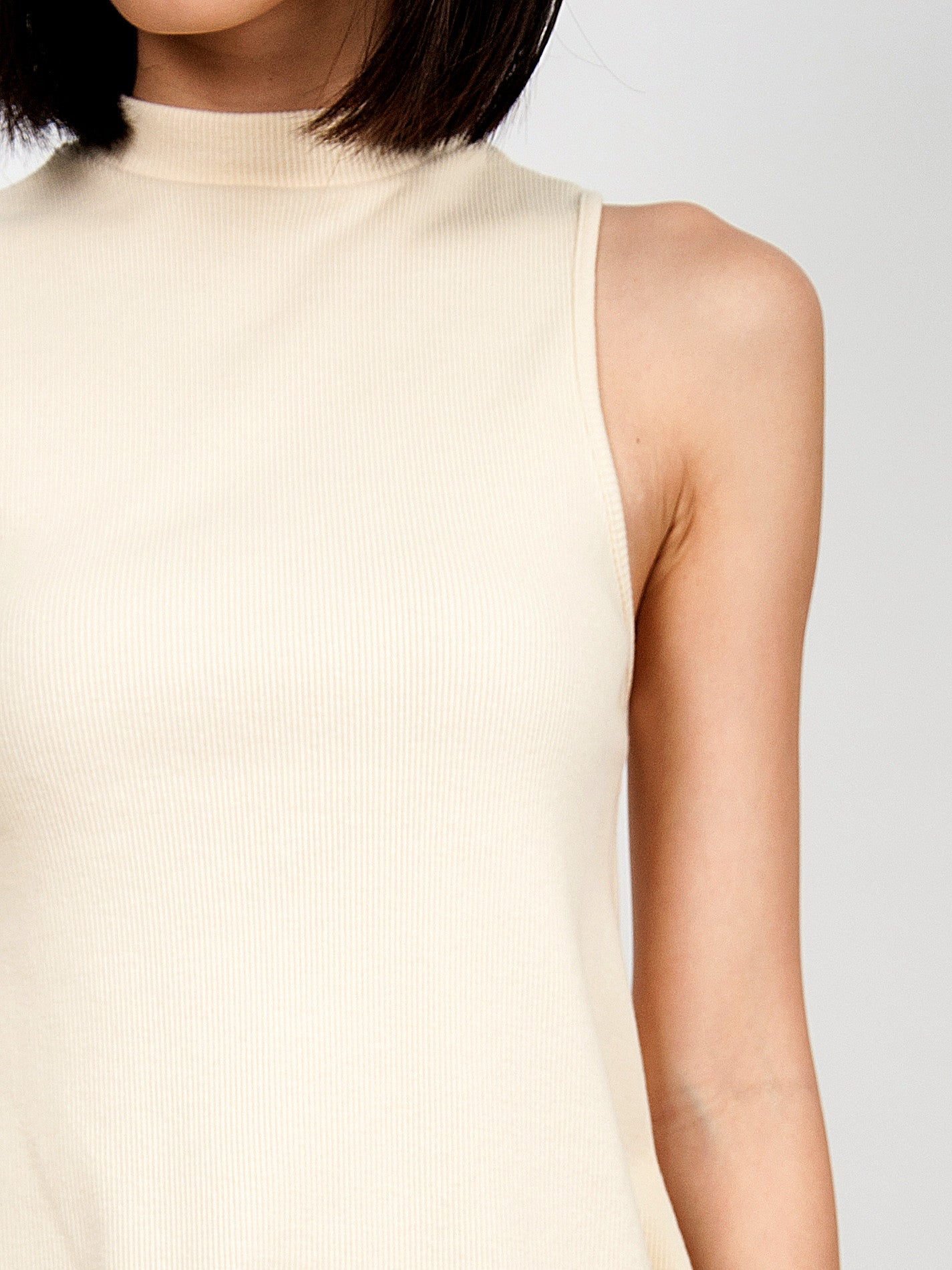 CLARE Ribbed High Neck Dress (Cream)