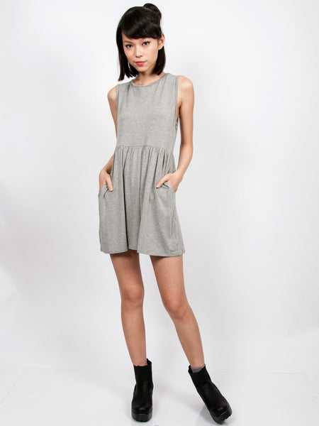 EMMA Ruched Babydoll Dress (Light Grey)