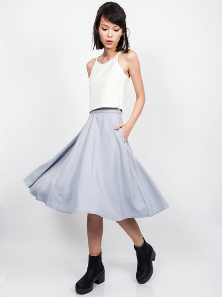 LANA Midi Skirt with Pockets (Blue Grey)