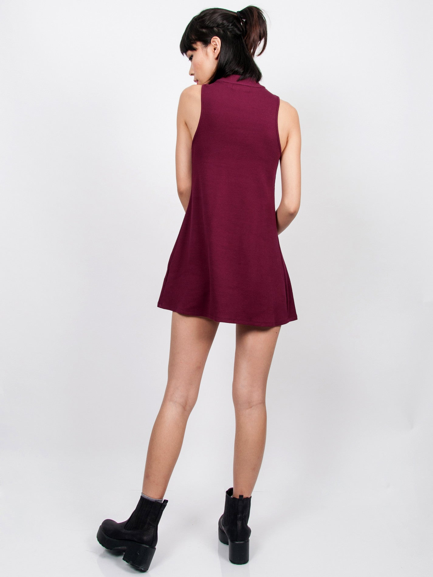 CLARE Ribbed High Neck Dress (Berry)