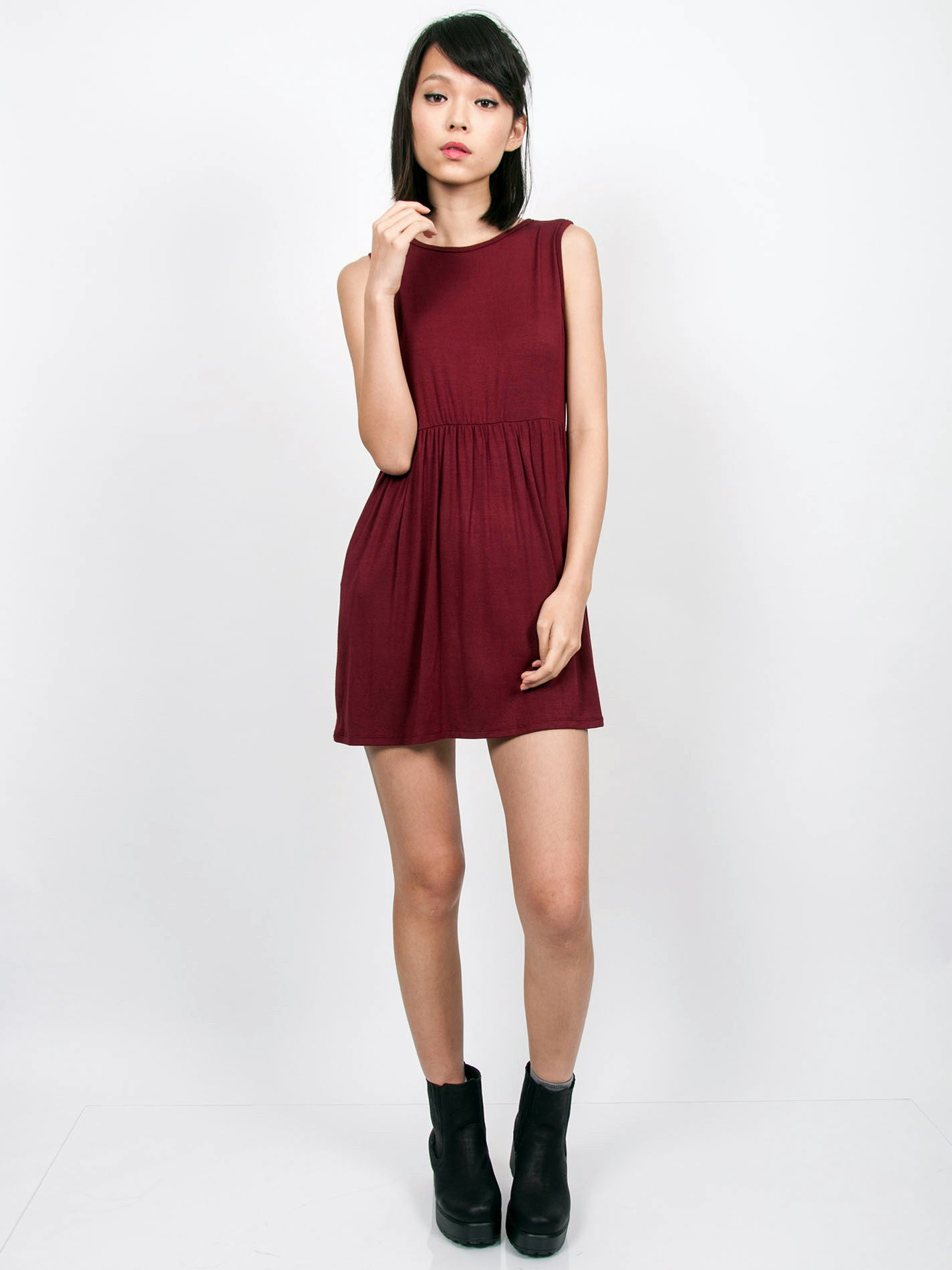 EMMA Ruched Babydoll Dress (Maroon)