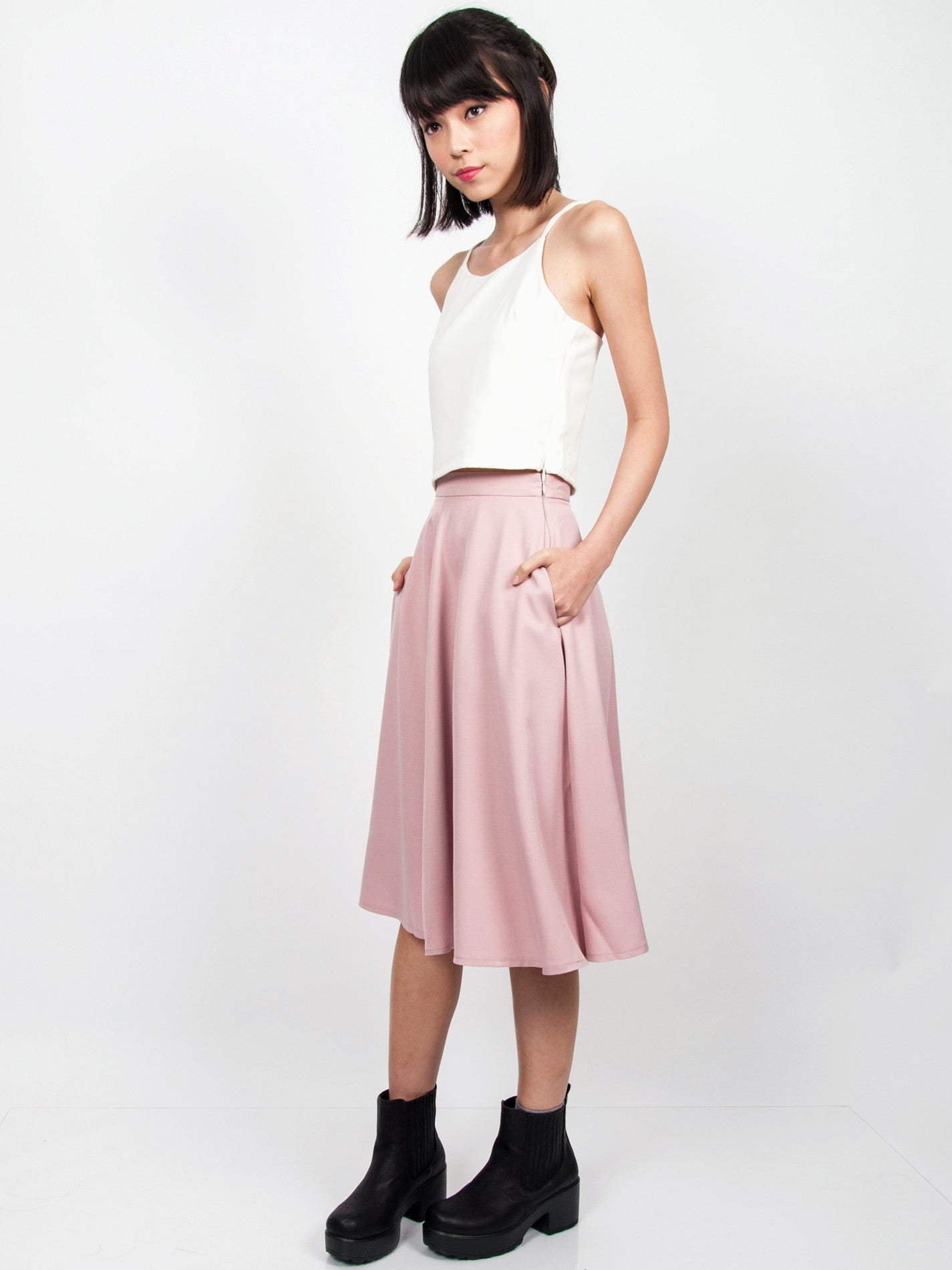 LANA Midi Skirt with Pockets (Dusty Pink)
