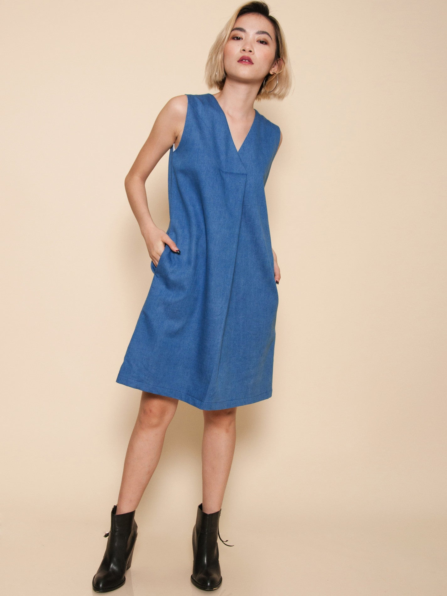 AVERY Pleat Front Midi Dress (Denim)
