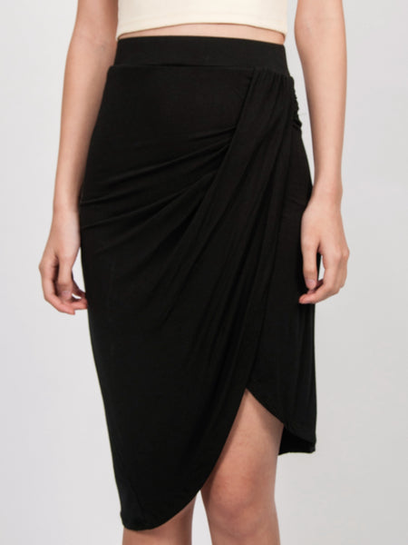 NELLIE Asymmetric Drape Skirt (Black)