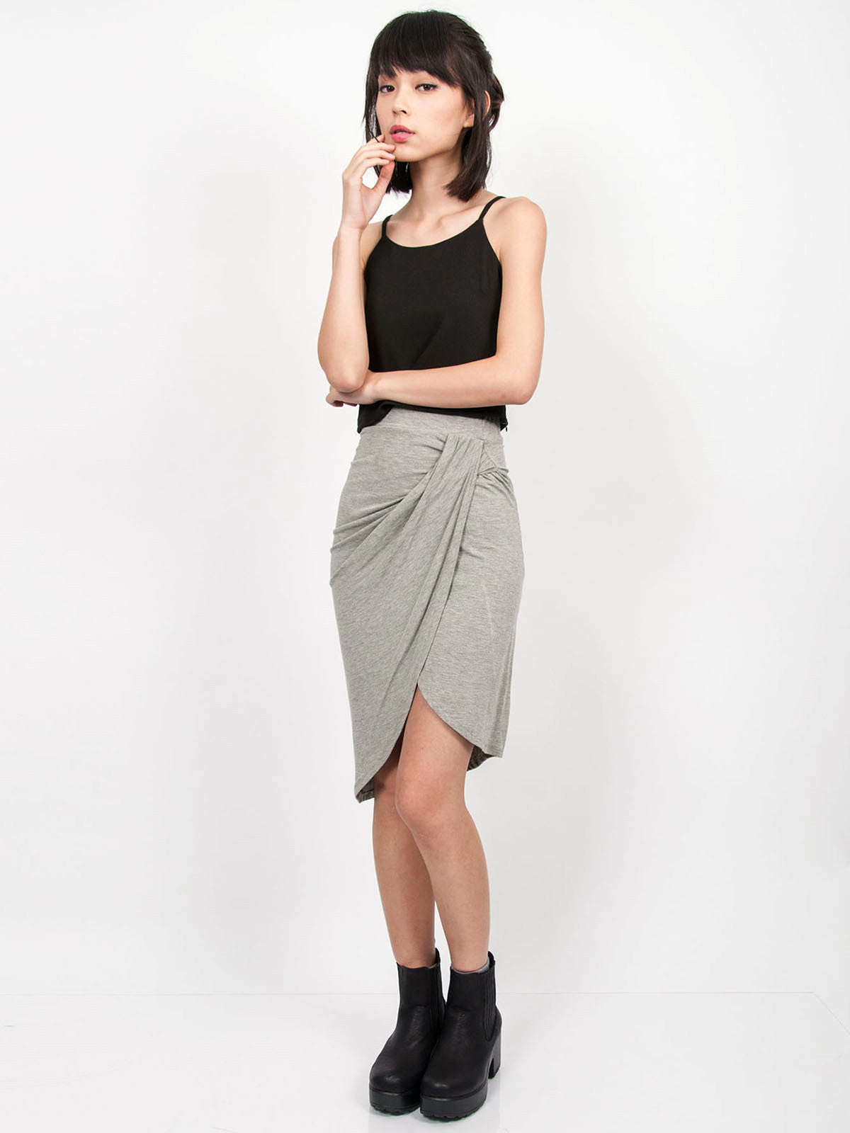 NELLIE Asymmetric Drape Skirt (Light Grey)