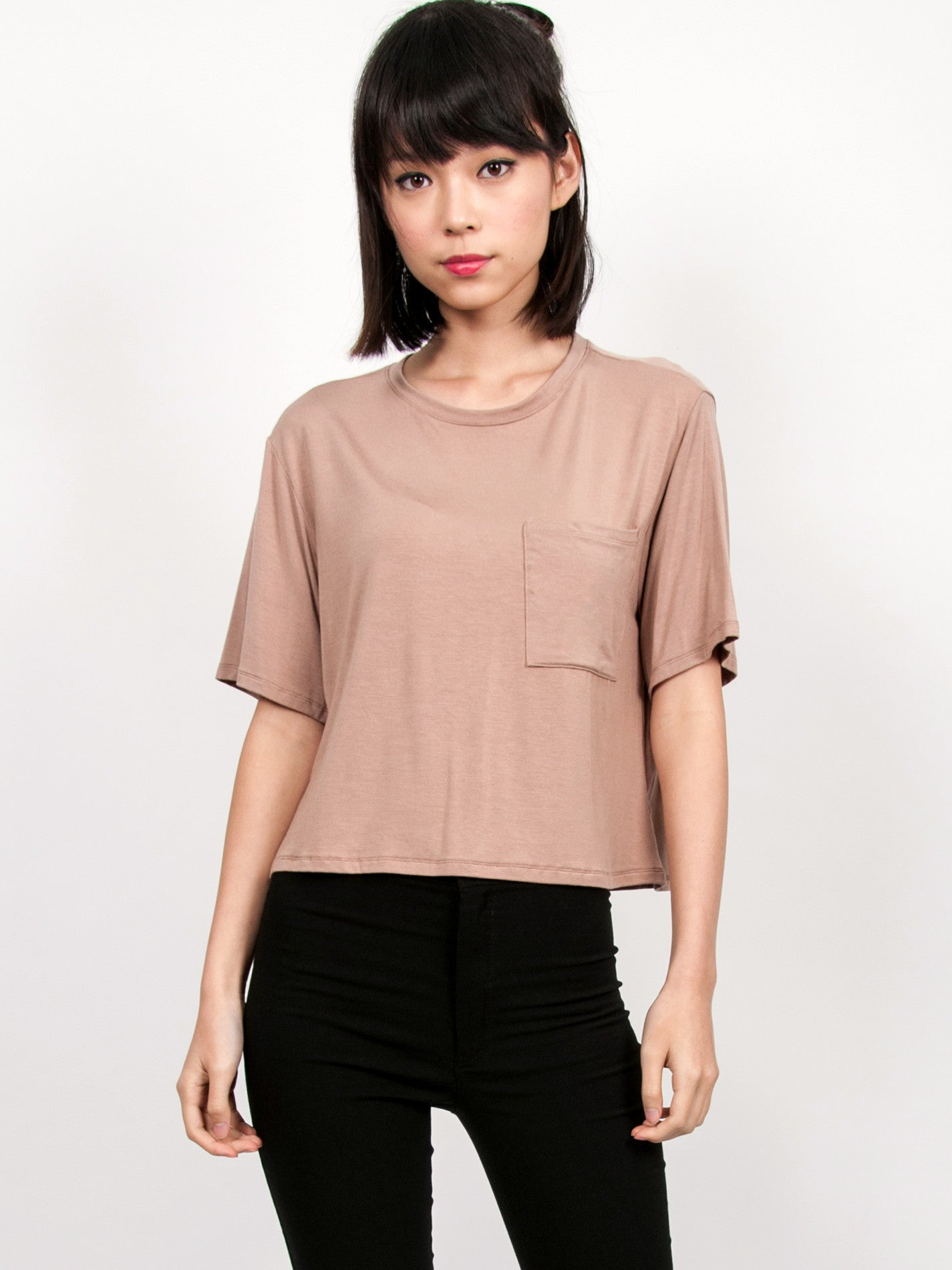MADDIE Slouchy Pocket Tee (Neutral)