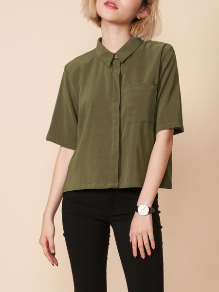 RAINA Cropped Shirt (Olive Green)