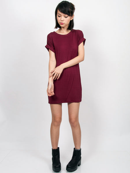 KYLIE Everyday Tee Shirt Dress (Maroon)