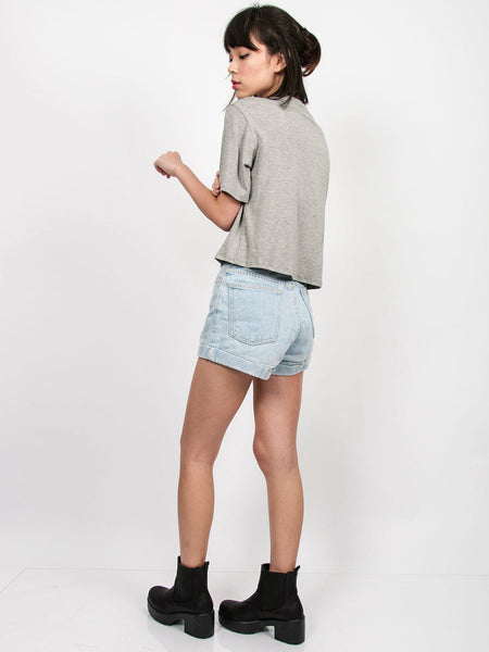 MADDIE Slouchy Pocket Tee (Light Grey)