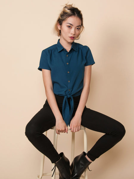 RITA Tie-Front Cropped Shirt (Teal)