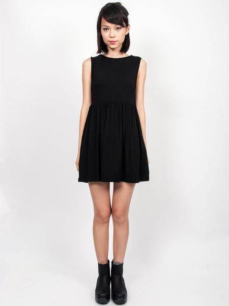 EMMA Ruched Babydoll Dress (Black)