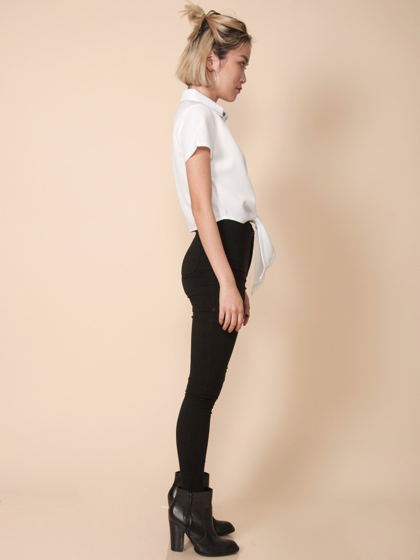 RITA Tie-Front Cropped Shirt (White)