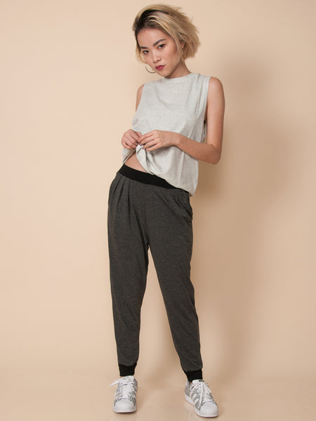 RILEY Soft Knit Jogger Pants (Grey Contrast)